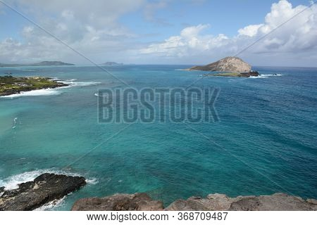Panoramic Scenic Overlook Of South Pacific Ocean From Makapu'u Point State Wayside, Along The Windwa