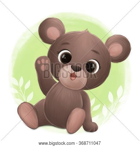 Cute Little Bear Smiles And Greets. Digital Illustration
