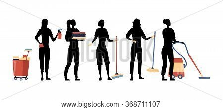 Cleaning Service. Set Of Female Characters Silhouettes With Professional Tools For Cleaning And Wash