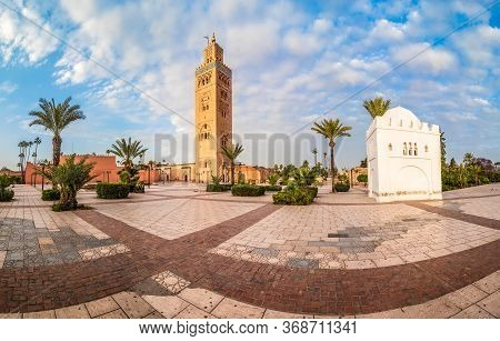Landscape With Koutoubia Mosque Minaret At Medina Quarter Of Marrakesh, Morocco