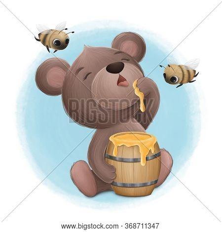 Little Cute Bear Enjoys Sweet Honey. Digital Illustration