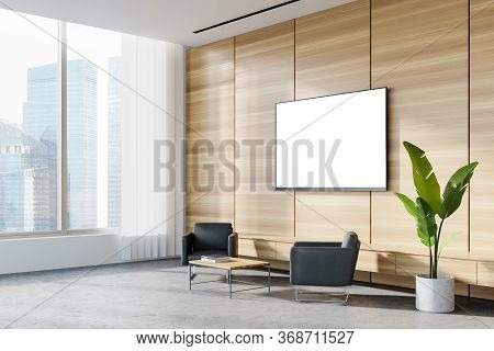 Corner Of Panoramic Corporate Office Waiting Room With White And Wooden Walls, Concrete Floor, Two C