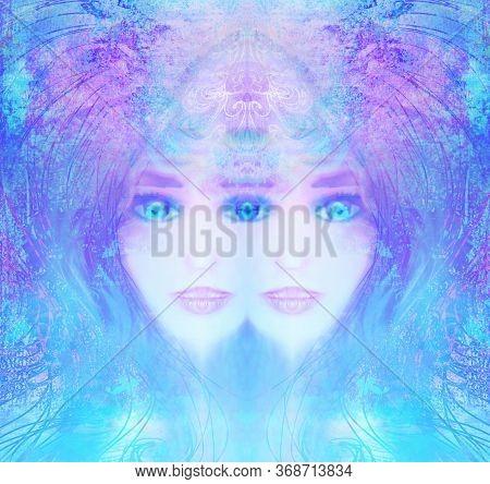 Woman With Third Eye Psychic Supernatural Senses , Raster