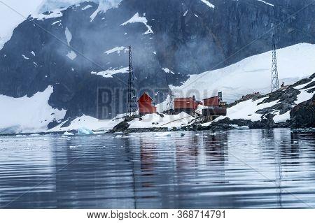 Snowing Argentine Almirante Brown Station Blue Glacier Mountain Paradise Harbor Bay Antarctic Penins