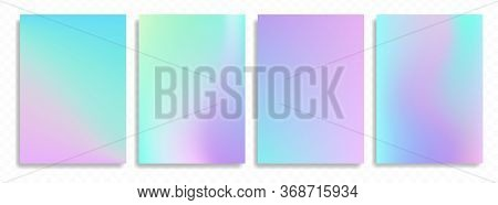 Holographic Posters. Abstract Wallpaper Background Set. Hologram Texture. Premium Vector.
