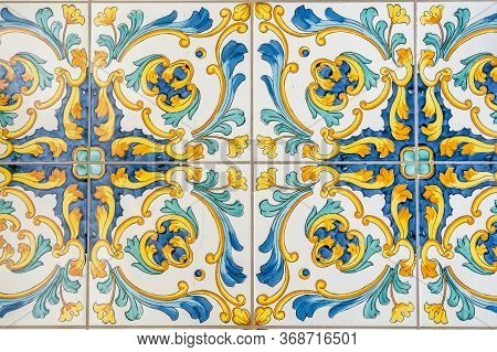 Traditional Italian Decorative Ceramic Tiles From Vietri, Colorful Background. Hight Quality Photo