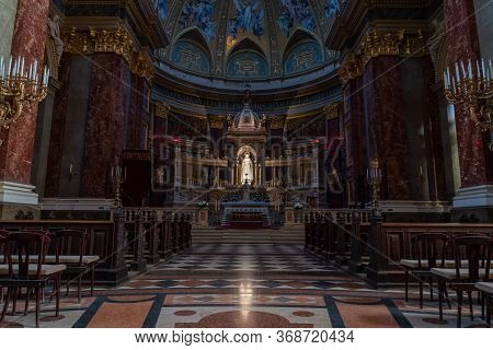 Budapest, Hungary - Feb 8, 2020: Ultrawide View Of Sanctuary Nave Hall In St. Stephens Basilica