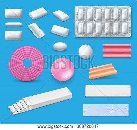 Chewing Bubble Gum Realistic Vector Mockups. Bubblegum Packages With Mint Or Menthol Sticks And Blis