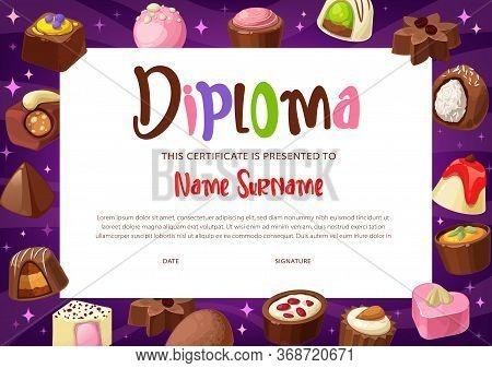 Diploma Certificate Vector Template Of Kids Education. School Or Kindergarten Graduation Award, Cert