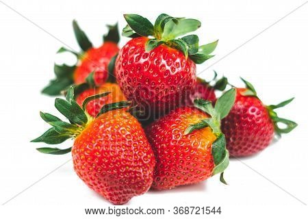 Strawberries On A White Background Isolate. Juicy Red Strawberry