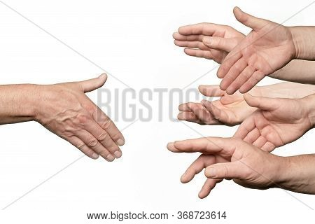 A Hand Contended For Greeting By Many Other Hands
