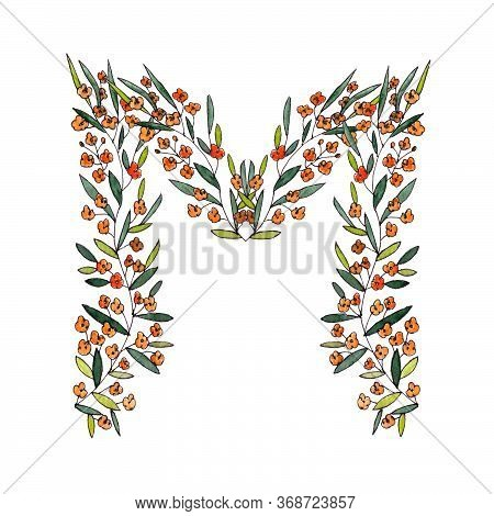 Letter M Of The English And Latin Floral Alphabet. Graphic On A White Background. Letter M Of Sprigs