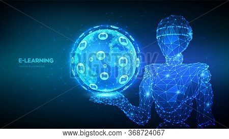 E-learning. Innovative Online Education Concept. Abstract 3d Low Polygonal Robot Holding Planet Eart