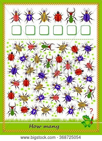 Math Education For Children. Count Quantity Of Bugs And Write Numbers. Developing Counting Skills. P