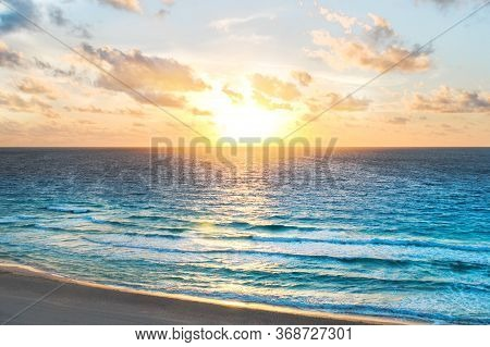 Cancun Mexico Sea. Inspirational Ocean In The Morning During Sunrise. Peaceful Caribbean Sea Landsca