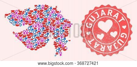 Vector Collage Of Love Smile Map Of Gujarat State And Red Grunge Seal With Heart. Map Of Gujarat Sta