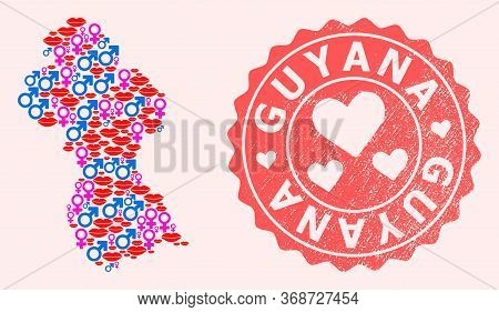 Vector Collage Of Love Smile Map Of Guyana And Red Grunge Stamp With Heart. Map Of Guyana Collage Cr
