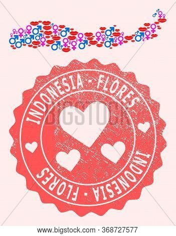 Vector Collage Of Love Smile Map Of Indonesia - Flores Island And Red Grunge Seal With Heart. Map Of