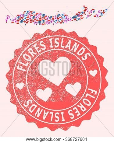 Vector Collage Of Sexy Smile Map Of Indonesia - Flores Islands And Red Grunge Stamp With Heart. Map