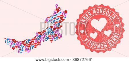 Vector Collage Of Sexy Smile Map Of Inner Mongolia And Red Grunge Stamp With Heart. Map Of Inner Mon