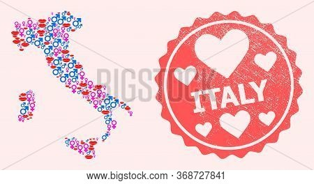 Vector Collage Of Love Smile Map Of Italy And Red Grunge Stamp With Heart. Map Of Italy Collage Comp