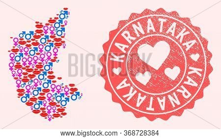 Vector Collage Of Sexy Smile Map Of Karnataka State And Red Grunge Seal Stamp With Heart. Map Of Kar