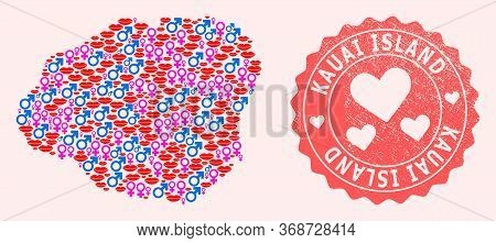 Vector Collage Of Love Smile Map Of Kauai Island And Red Grunge Seal Stamp With Heart. Map Of Kauai