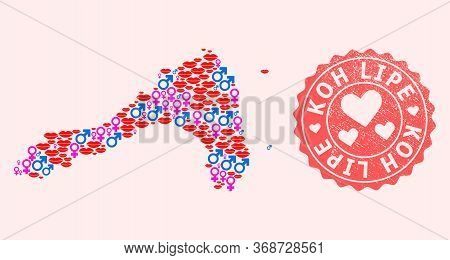 Vector Composition Of Sexy Smile Map Of Koh Lipe And Red Grunge Seal With Heart. Map Of Koh Lipe Col