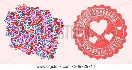 Vector Collage Of Sexy Smile Map Of Kujawy-pomerania Province And Red Grunge Stamp With Heart. Map O
