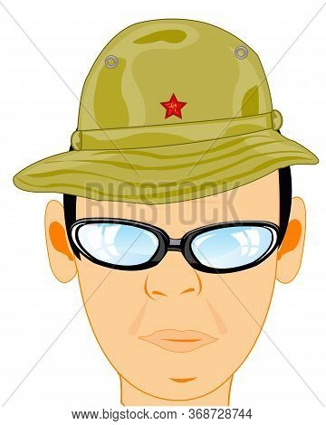 Man Military Panama In Headdress For Warm Countries