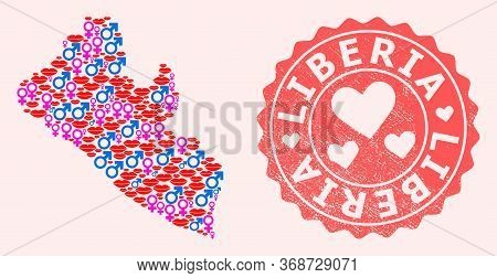 Vector Collage Of Sexy Smile Map Of Liberia And Red Grunge Seal Stamp With Heart. Map Of Liberia Col
