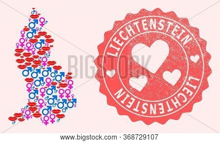 Vector Composition Of Love Smile Map Of Liechtenstein And Red Grunge Seal With Heart. Map Of Liechte