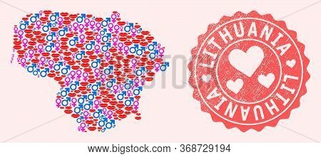 Vector Collage Of Love Smile Map Of Lithuania And Red Grunge Seal With Heart. Map Of Lithuania Colla