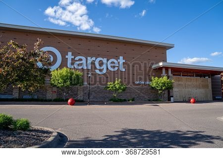 Maple Grove, Minnesota - May 29, 2020: A Target Store Is Boarded Up To Prevent Looting And Riots Due