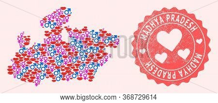 Vector Collage Of Love Smile Map Of Madhya Pradesh State And Red Grunge Stamp With Heart. Map Of Mad