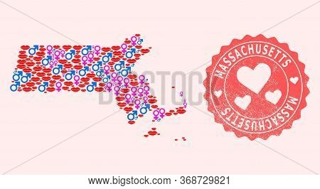 Vector Collage Of Sexy Smile Map Of Massachusetts State And Red Grunge Seal Stamp With Heart. Map Of