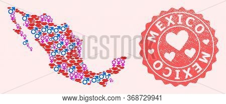 Vector Composition Of Love Smile Map Of Mexico And Red Grunge Seal With Heart. Map Of Mexico Collage