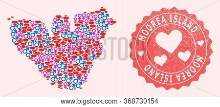 Vector Collage Of Love Smile Map Of Moorea Island And Red Grunge Stamp With Heart. Map Of Moorea Isl