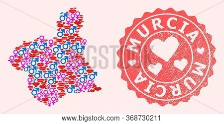 Vector Collage Of Sexy Smile Map Of Murcia Province And Red Grunge Stamp With Heart. Map Of Murcia P