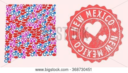 Vector Collage Of Love Smile Map Of New Mexico State And Red Grunge Seal With Heart. Map Of New Mexi