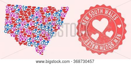 Vector Collage Of Love Smile Map Of New South Wales And Red Grunge Stamp With Heart. Map Of New Sout
