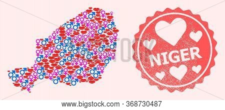 Vector Combination Of Sexy Smile Map Of Niger And Red Grunge Seal With Heart. Map Of Niger Collage C