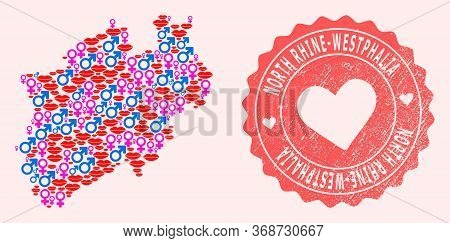 Vector Combination Of Love Smile Map Of North Rhine-westphalia State And Red Grunge Seal Stamp With