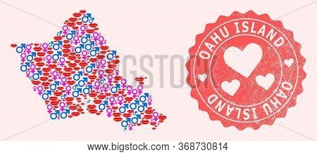 Vector Collage Of Love Smile Map Of Oahu Island And Red Grunge Stamp With Heart. Map Of Oahu Island