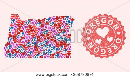 Vector Combination Of Sexy Smile Map Of Oregon State And Red Grunge Stamp With Heart. Map Of Oregon