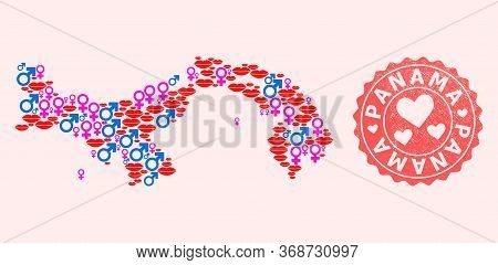 Vector Collage Of Love Smile Map Of Panama And Red Grunge Seal With Heart. Map Of Panama Collage Des