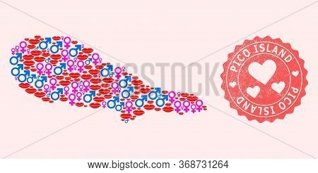 Vector Collage Of Love Smile Map Of Pico Island And Red Grunge Stamp With Heart. Map Of Pico Island