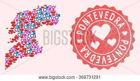 Vector Composition Of Love Smile Map Of Pontevedra Province And Red Grunge Stamp With Heart. Map Of
