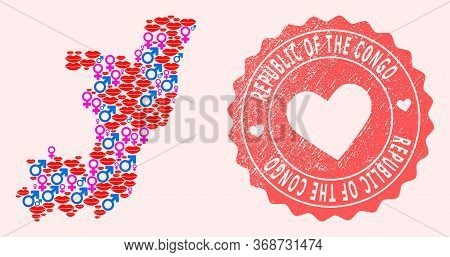 Vector Collage Of Sexy Smile Map Of Republic Of The Congo And Red Grunge Stamp With Heart. Map Of Re