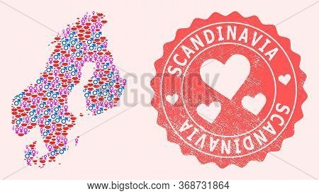 Vector Collage Of Love Smile Map Of Scandinavia And Red Grunge Seal With Heart. Map Of Scandinavia C